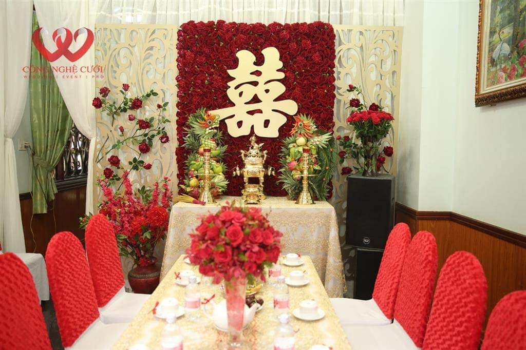 Trang trí gia tiên, trang trí nhà đám cưới, trang trí nhà đám hỏi, dịch vụ trang trí đám cưới