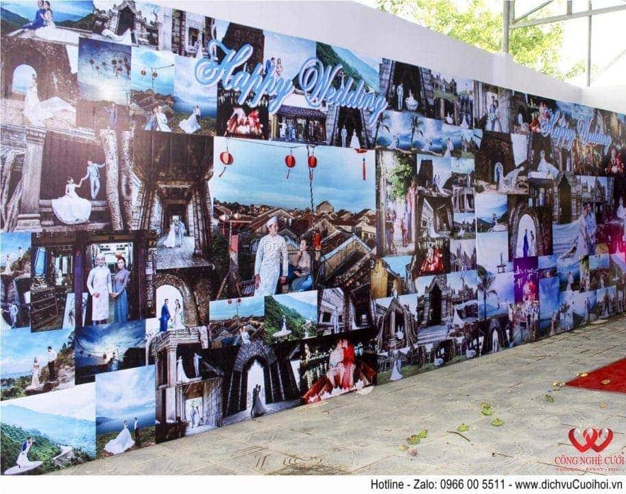 Trang trí tiệc cưới trọn gói tông màu tím- Backdrop in ảnh hiflex