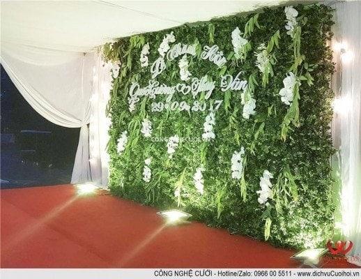 Trang trí tiệc cưới trọn gói Backdrop sân khấu đám cưới sân vườn