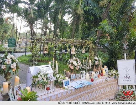 Trang trí tiệc cưới trọn gói bàn gallery đám cưới sna6 vườn