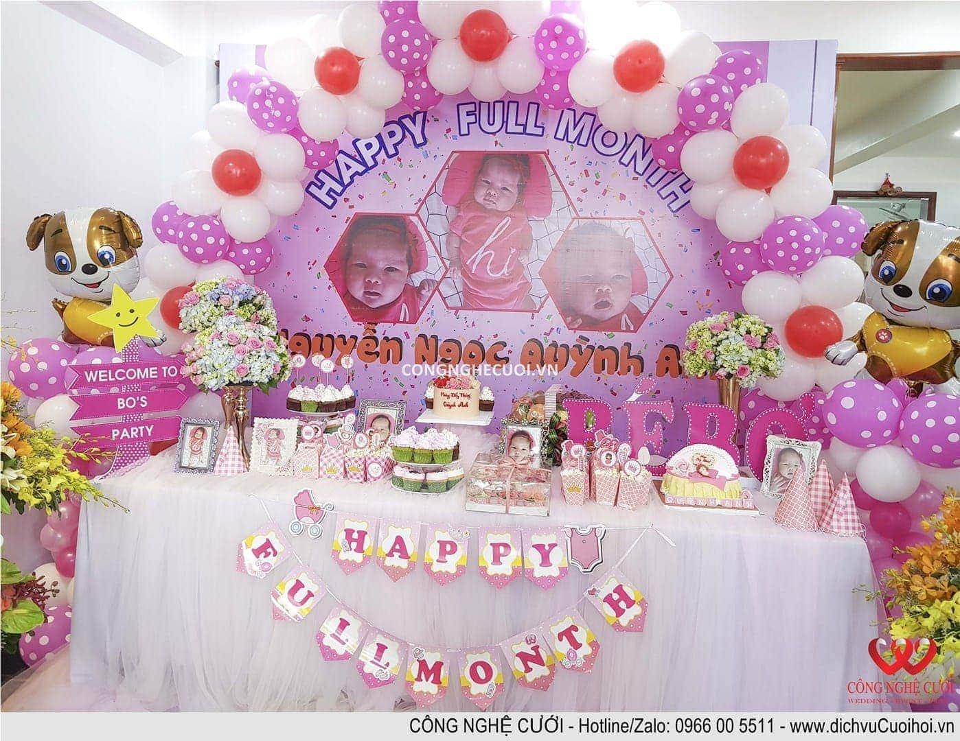 Trang trí tiệc đầy tháng, Tiệc thôi nôi, tiệc sinh nhật bé trọn gói