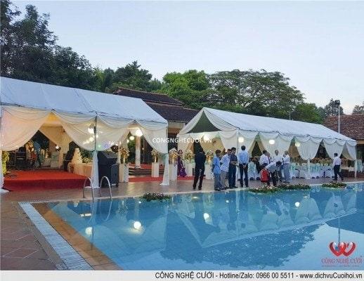 Trang trí tiệc cưới trọn gói Backdrop sân khấu, lối đi, nhà bạt đám cưới sân vườn