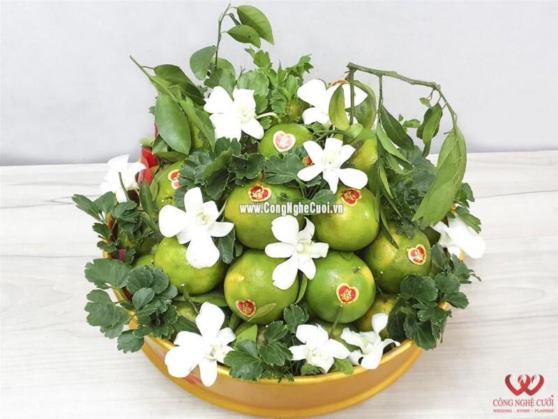 Mâm quả trái cây quýt xanh cưới hỏi